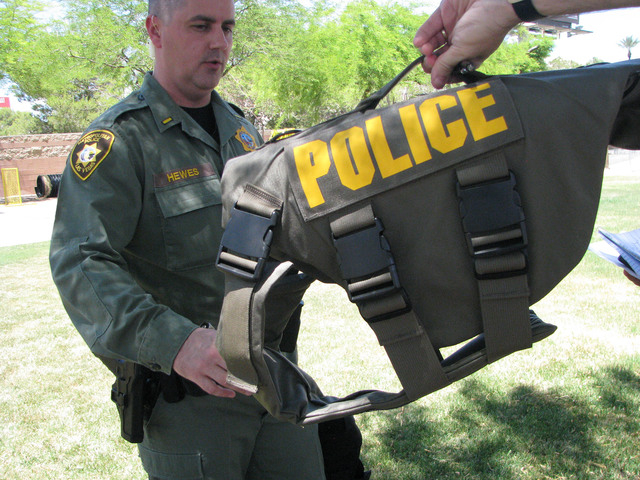Lt. Jeff Hewes, K-9 section commander for the Metropolitan Police Department, discusses the pros and cons of bulletproof vests for dogs on May 19, 2016, at the K-9 office behind the South Central  ...