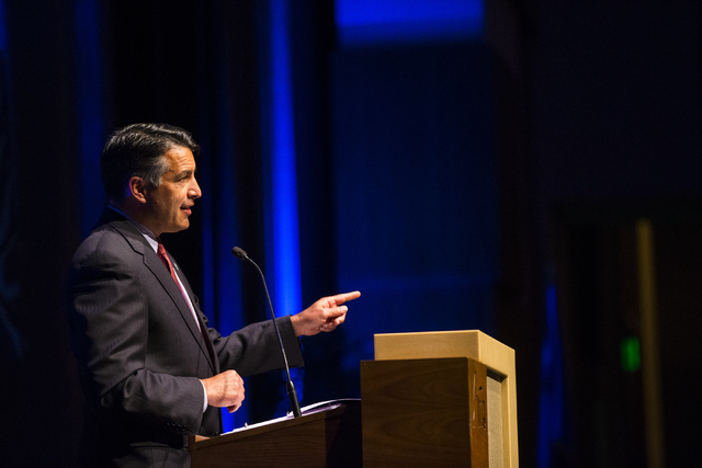 """Gov. Brian Sandoval speaks during an event honoring 2016 DRI Nevada Medalist Dr. Mary """"Missy"""" Cummings at the Aria hotel-casino in Las Vegas on Thursday, April 14, 2016.  (Chase Stevens/Las Vegas  ..."""