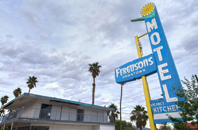 Renovations are dormant on Fergusons Motel, 1028 E. Fremont St. as part of the Downtown Project on Tuesday, April 26, 2016, in Las Vegas. (Benjamin Hager/Las Vegas Review-Journal) Follow @benjamin ...
