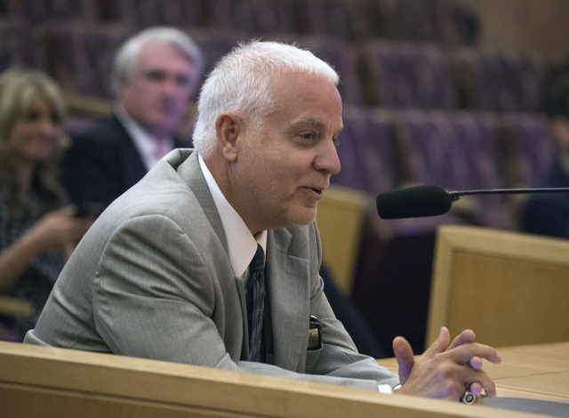 Art Manteris, vice president for race and sports operation at Station Casinos, speaks during the Gaming Policy Committee meeting to discuss e-sports at the Clark County Commission chambers, 500 S. ...