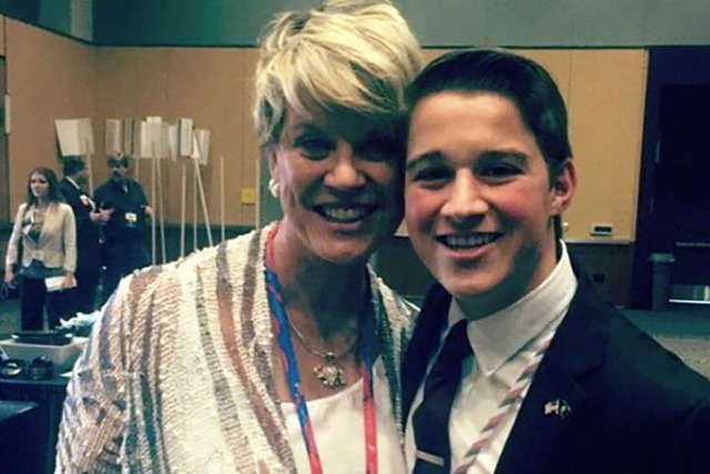 Ryder Haag poses with Kim Bacchus, chairwoman of the Republican Women of Northern Nevada, at the state GOP convention in Reno on Saturday, May 14, 2016. Haag, 19, was elected as a delegate to the  ...