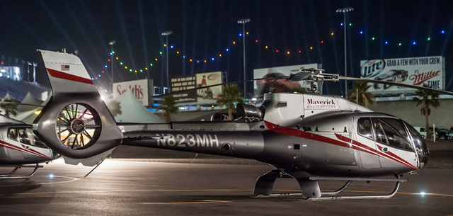 A Maverick helicopter sits on the helipad at the Las Vegas Motor Speedway for the Electronic Daisy Carnival shuttle service. (Courtesy/Maverick Helicopters)