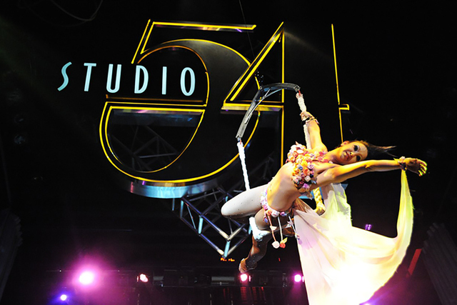 An aerialist performs inside the Studio 54 nightclub at the MGM Grand in 2012. (Bryan Haraway/Courtesy)