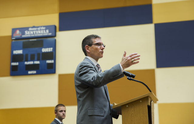U.S. Rep. Joe Heck, R-Nev, speaks at Veterans Tribute Career and Technical Academy, Tuesday, May 3, 2016, in Las Vegas. Heck announced the introduction of the Career and Technical Education Equity ...