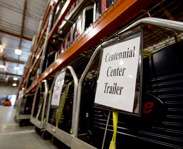 A secured and certified voting machine sits on carts at the Clark County Elections Department warehouse, 965 Trade Drive, North Las Vegas, on Thursday, May 12, 2016. Jeff Scheid/Las Vegas Review-J ...