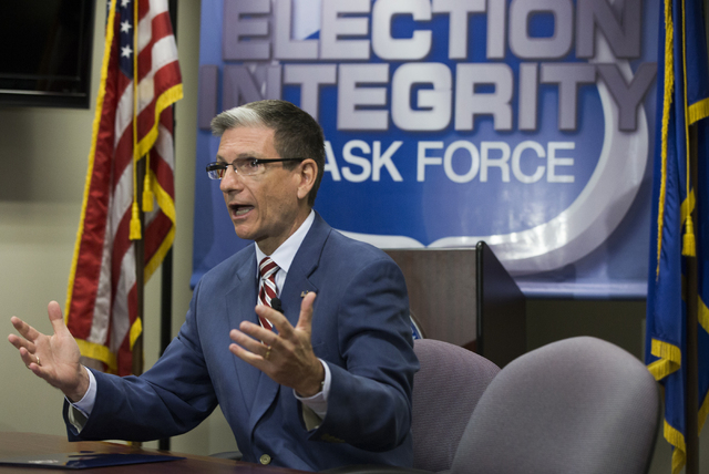 U.S. Rep. Joe Heck, R-Nev, responds to questions after officially filing to run for the Senate seat of outgoing U.S. Senator Harry Reid, D-Nev, at the Grant Sawyer Building Monday, March 14, 2016  ...