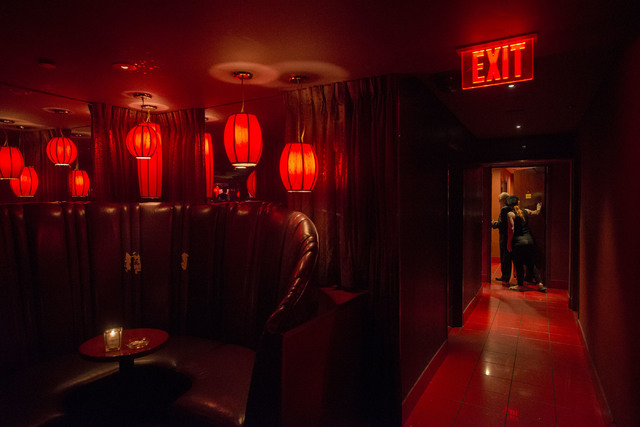 General manager Rudy Nino heads to his office in the back of the Girls of Glitter Gulch in downtown Las Vegas on May 24, 2016. (Bridget Bennett/Las Vegas Review-Journal) Follow @bridgetkbennett