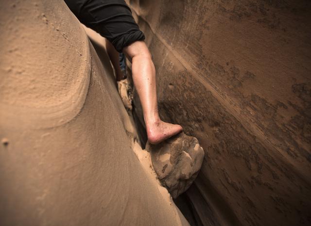 A hiker maneuvers in  Zebra Canyon on Saturday, April 16, 2016. Jeff Scheid/Las Vegas Review-Journal Follow @jlscheid