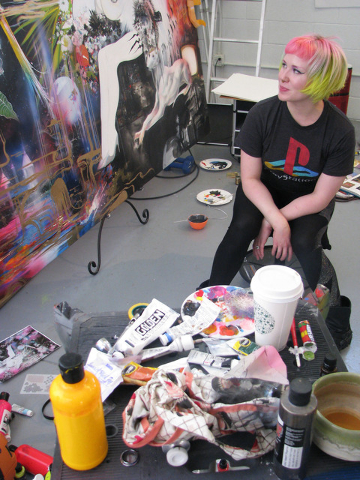 Heather Hermann pauses during the last day of work on a commissioned piece at the Boulder City studio she shares with Gear Duran April 19. F. Andrew Taylor/View