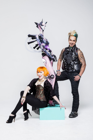 Heather Hermann and Gear Duran pose with the art they created for ArtLIVE!, a charity event combining fashion and art in a showcase to benefit the Las Vegas Fashion Council and 18b Arts District.  ...