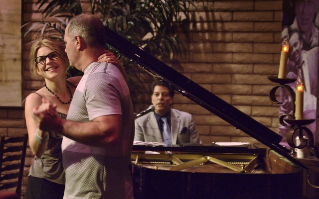 Colleen and Keith Saari dance as George Bugatti plays piano at the Bootlegger Bistro at 7700 Las Vegas Blvd. South May 13, 2016. Bill Hughes/View
