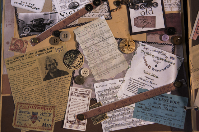 A newspaper clipping of in a scrap book of Vince Shank when he was released from a prisoner-of-war camp in Germany during WWII is seen Thursday, March 3, 2016.  (Jeff Scheid/Las Vegas Review-Journ ...