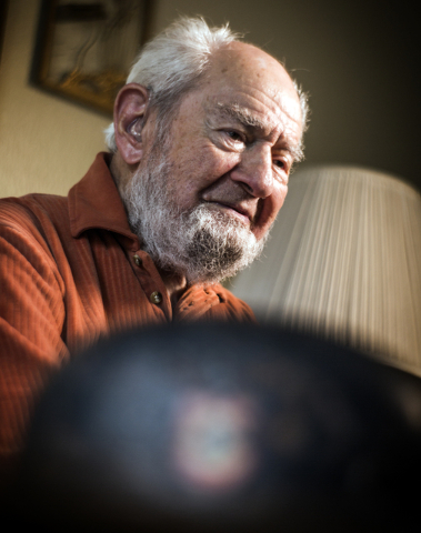 Las Vegan Vince Shank, 99, reflects on time he spent 22 months as a prisoner-of-war at Stalag III during an interview on Thursday, March 3, 2016 at a senior living center. He was a bugler in Stala ...
