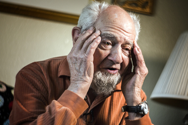 Las Vegan Vince Shank, 99, reflects on time he spent 22 months as a prisoner-of-war at Stalag III during during an interview on Thursday, March 3, 2016 at a senior living center. He was a bugler i ...
