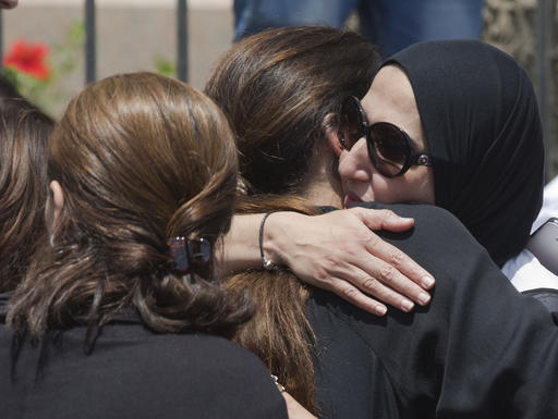 Relatives and friends of Salah Abu Laban, Sahar Qouidar, Ghassan Abu Laban and Reem al-Sebaei, all victims of EgyptAir flight 804, which crashed while carrying 66 passengers and crew from Paris to ...