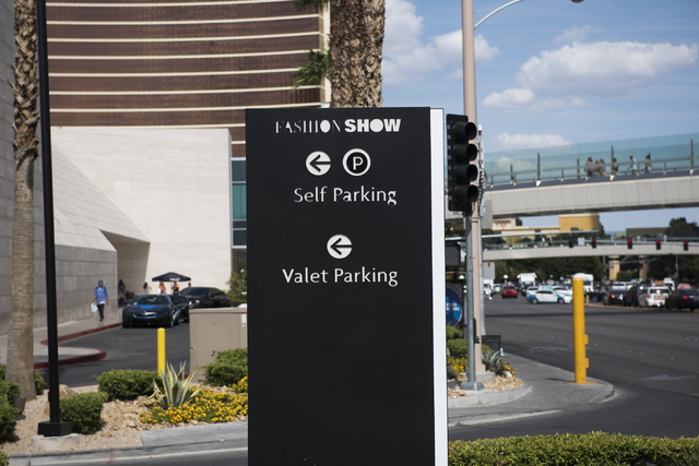 A Sign To The South Side Parking Structure Of Fashion Show Mall Is Seen In
