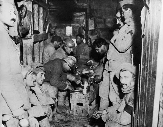This undated file photo taken during the First World War shows French soldiers resting inside the Fort de Vaux, one of the second fortress to fall in the Battle of Verdun, eastern France. (AP Phot ...