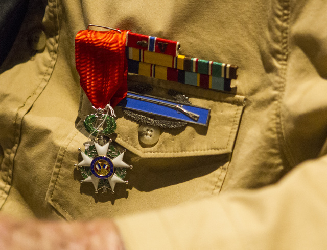World War II veteran Tech. Sgt. Elmer J. Hess, 98, wears the French Legion of Honor medal he was presented with on Wednesday, April 20, 2016 in Las Vegas. Chase Stevens/Las Vegas Review-Journal Fo ...