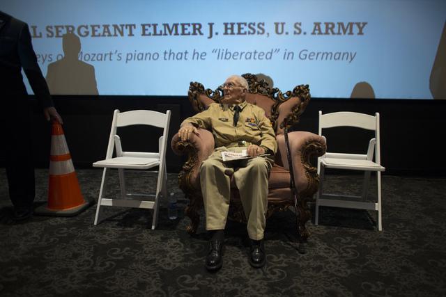 World War II veteran Tech. Sgt. Elmer J. Hess, 98, is shown before receiving the French Legion of Honor medal at Wayne Newton's Casa de Shenandoah Visitor Center in LAs Vegas on Wednesday, April 2 ...