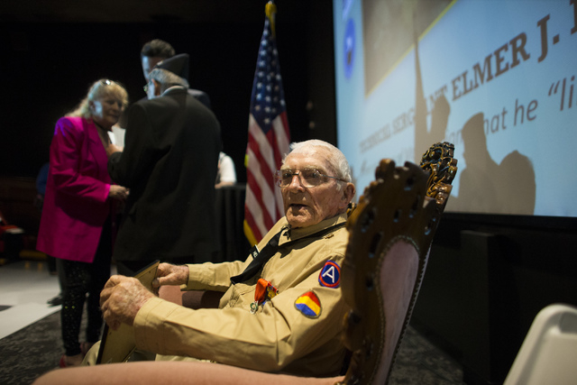 World War II veteran Tech. Sgt. Elmer J. Hess, 98, is shown after receiving the French Legion of Honor medal at Wayne Newton's Casa de Shenandoah Visitor Center in LAs Vegas on Wednesday, April 20 ...
