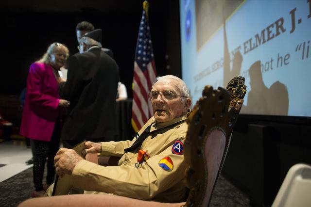 World War II veteran Tech. Sgt. Elmer J. Hess, 98, is shown after receiving the French Legion of Honor medal at Wayne Newton's Casa de Shenandoah Visitor Center in LAs Vegas on Wednesday, April 20 ...