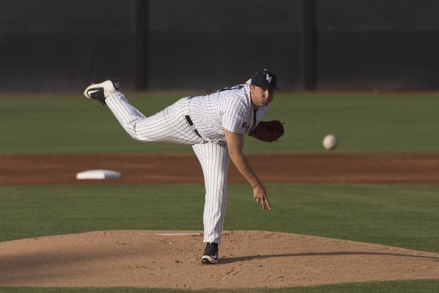 UNLV's D.J. Myers throws a pitch against Fresno State at UNLV's Earl E. Wilson Baseball Stadium Friday, May 13, 2016. Jason Ogulnik/Las Vegas Review-Journal