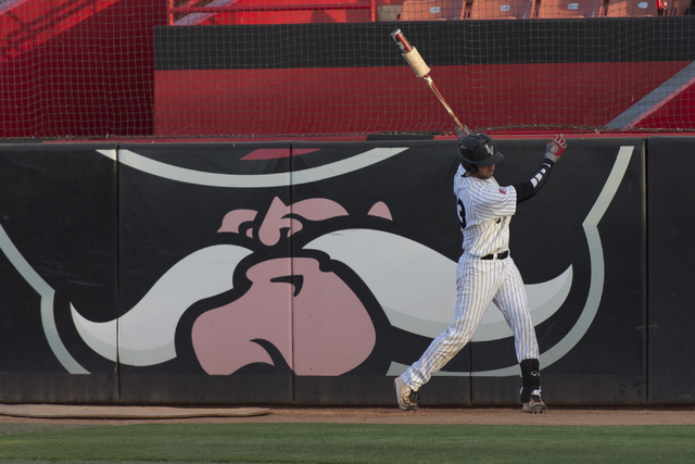 UNLV's Andrew Yazdanbakhsh warms up while on deck during a game against Fresno State at UNLV's Earl E. Wilson Baseball Stadium Friday, May 13, 2016. Jason Ogulnik/Las Vegas Review-Journal