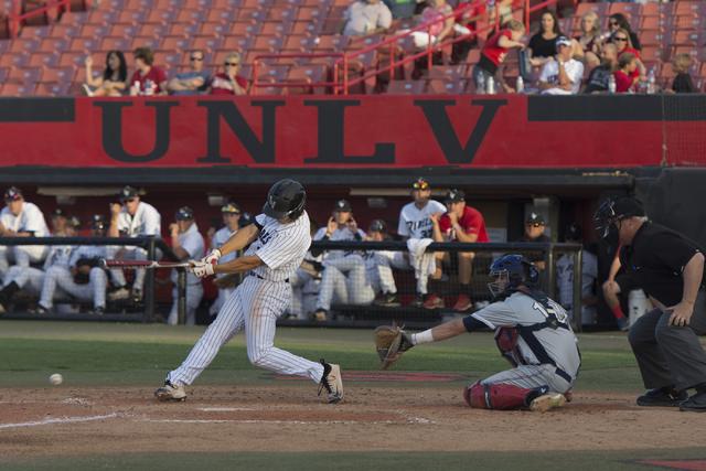 UNLV's Justin Jones gets a hit during a game against Fresno State at UNLV's Earl E. Wilson Baseball Stadium Friday, May 13, 2016. Jason Ogulnik/Las Vegas Review-Journal