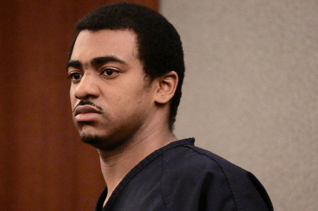Robert Sharpe, a pimp convicted of beating a woman and leaving her nearly dead, stands for his sentencing. He received life without parole. (Jeff Scheid/Las Vegas Review-Journal)