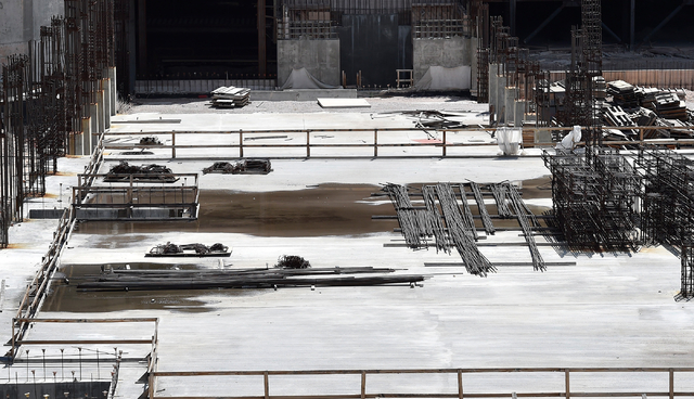 Rebar is seen at the construction site of Resorts World Las Vegas along the Strip Monday, May 2, 2016, in Las Vegas. The property, site of Boyd Gaming's mothballed Echelon project, purchased by Ma ...