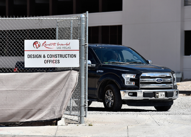 A truck exits the Resorts World Las Vegas construction site Monday, May 2, 2016, in Las Vegas. The property, site of Boyd Gaming's mothballed Echelon project, purchased by Malaysia-based Genting G ...