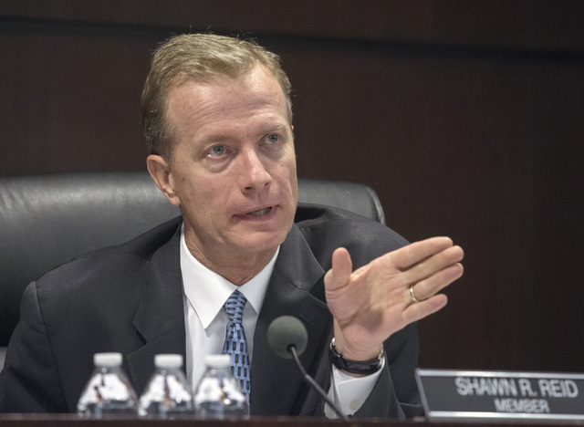 Gaming Control Board member Sean Reid speaks during the Genting Group licensing hearing on Wednesday, May 4, 2016. The Malaysian-based  company is schedule to start building Resorts World Las Vega ...