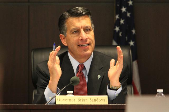 Nevada Gov. Brian Sandoval speaks during the Nevada Governor's Office of Economic Development board meeting at the Grant Sawyer Building in Las Vegas Thursday, Jan. 22, 2015. (Erik Verduzco ...
