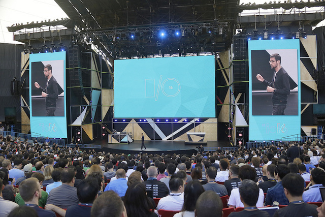 Google CEO Sundar Pichai walks on stage to deliver the keynote address of the Google I/O conference, Wednesday, May 18, 2016, in Mountain View, Calif. Google is unveiling its vision for phones, ca ...