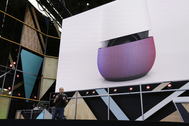 Google vice president Mario Queiroz gestures while introducing the new Google Home device during the keynote address of the Google I/O conference Wednesday, May 18, 2016, in Mountain View, Calif.  ...