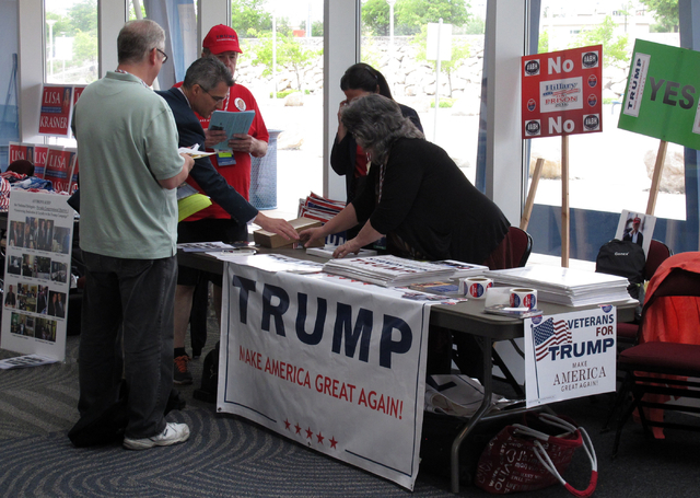 State delegates talk to volunteers for Donald Trump's presidential campaign at the Nevada Republican State Convention in Reno on Saturday, May 14, 2016. (Scott Sonner/Associated Press)