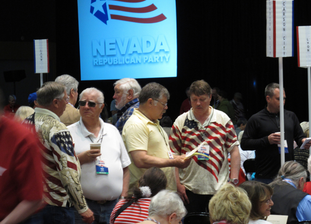Delegates talk on the floor of the Nevada Republican State Convention at the Reno-Sparks Convention Center in Reno on Saturday, May 14, 2016. Scott Sonner/Associated Press
