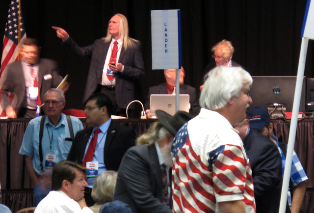 Washoe County Republican delegate Tom Dickman points from the stage at the Reno-Sparks Convention Center as delegates gather for the Nevada GOP State Convention in Reno on Saturday, May 14, 2016.  ...