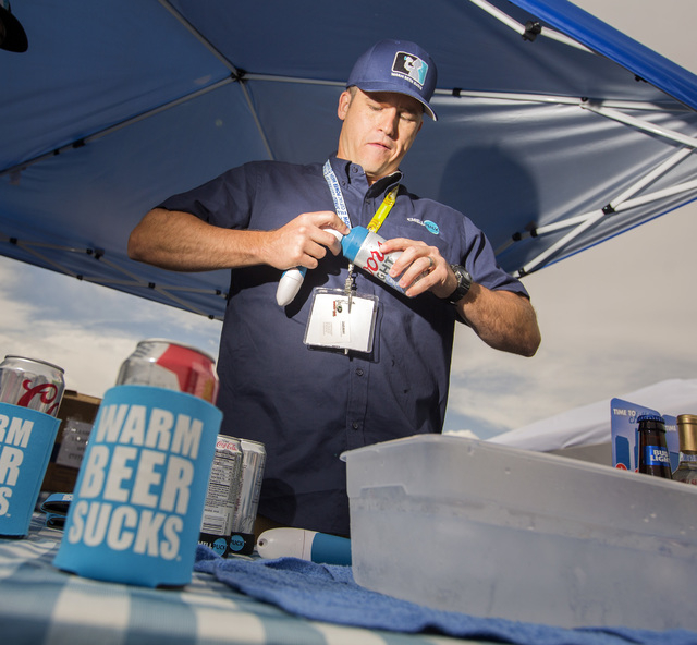 Chill Puck founder and CEO Curt Peters prepares to chill a can of been, Friday, May 6, 2016, at the 71st National Hardware Show in the Las Vegas Convention Center parking lot. Jeff Scheid/Las Vega ...