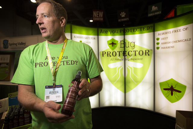 Sales representative Bob Porazil explains the Bug Protector, an all natural bug repellant, Friday, May 6, 2016, at the 71st National Hardware Show in the Las Vegas Convention Center. Jeff Scheid/L ...