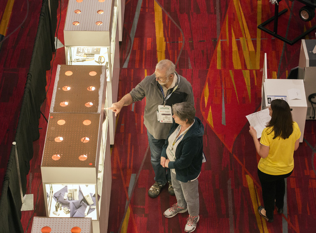 People look at new products, Friday, May 6, 2016, at the 71st National Hardware Show in the Las Vegas Convention Center. Jeff Scheid/Las Vegas Review-Journal Follow @jlscheid