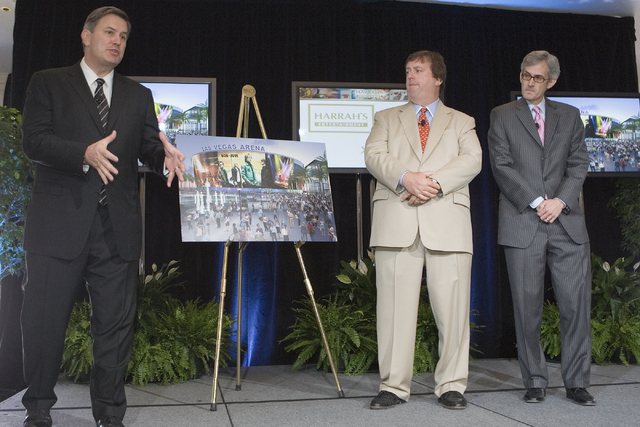 From left, Timothy J. Leiweke, president and CEO, AEG, Gary Loveman, chairman, CEO and president of Harrah's Entertainment, Inc., and Clark County Commissioner, Rory Reid, at a press conference an ...