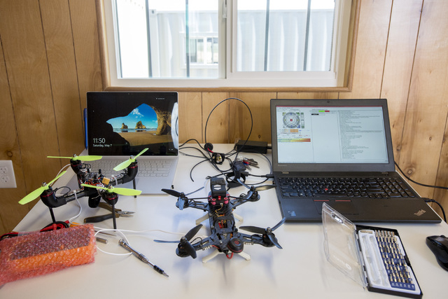 A computer, right, processes Gigabot, a 3-D printer printing drone parts. In honor of International Drone Day, Aerodrome held a a drone flying day on May 7, 2016, in Boulder City. Bridget Bennett/ ...