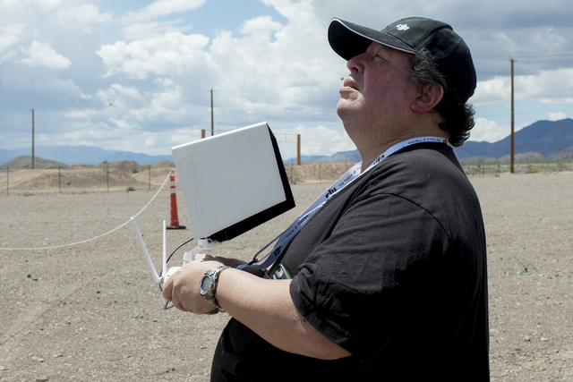 Paul Hirsch runs his drone through the course May 7 in Boulder City during International Drone Day. Bridget Bennett/View