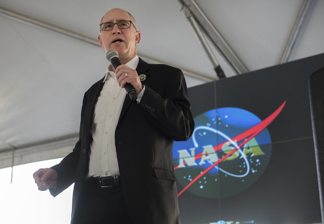 Director of the International Space Station Sam Scimemi speaks to the crowd during a May Science Be With You event May 4, 2016, at the National Atomic Testing Museum at the Desert Research Institu ...