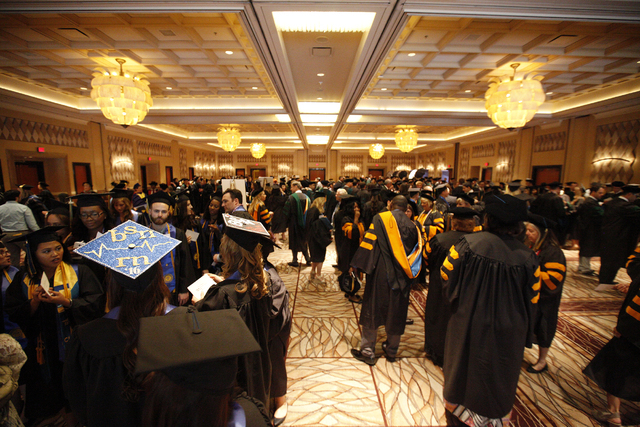Touro University Nevada graduates wait in a ballroom for their graduation ceremony at the Rio Hotel and Casino Sunday, May 15, 2016. (Rachel Aston/Las Vegas Review-Journal) Follow @rookie__rae