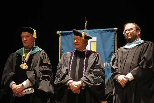 Dean Dr. John Dougherty, from left, Dr. Ray Alden, and Rabbi Fromowitz wait at the start of Touro University Nevada's graduation ceremony at the Rio Hotel and Casino Sunday, May 15, 2016. (Rachel  ...