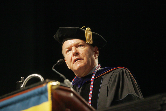 Dr. Ray Alden speaks at Touro University Nevada's graduation ceremony at the Rio Hotel and Casino Sunday, May 15, 2016. Rachel Aston/Las Vegas Review-Journal Follow @rookie__rae