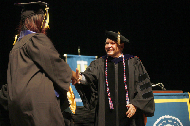 Dr. Ray Alden shakes a student's hand at Touro University Nevada's graduation ceremony at the Rio Hotel and Casino Sunday, May 15, 2016. (Rachel Aston/Las Vegas Review-Journal) Follow @rookie__rae