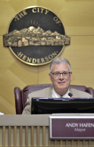 Henderson Mayor Andy Hafen is shown at a Henderson City Council meeting in Henderson City Hall at 240 S. Water St. on Tuesday, May 17, 2016. Bill Hughes/Las Vegas Review-Journal